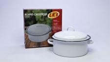 Roaster Enamel Round White Medium