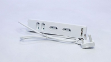 Plug Adaptor 4 Way 2 Pin Euro With USB Function