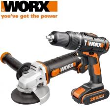 Worx Impact Drill & A/Grinder 115mm 20v 2x2.0ah